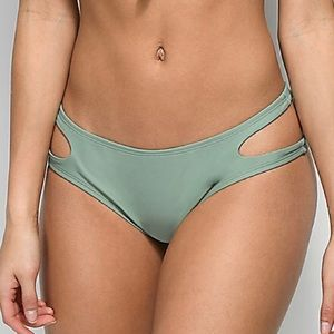 TRILLIUM NWT cutout olive hipster bikini bottoms L
